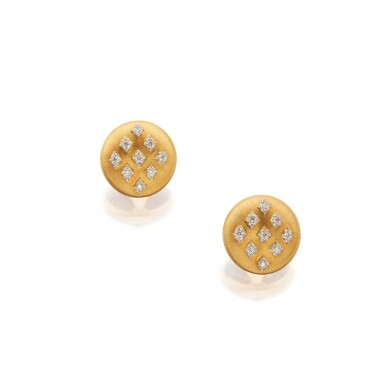 View 1. Thumbnail of Lot 335. Pair of Gold and Diamond Earclips.