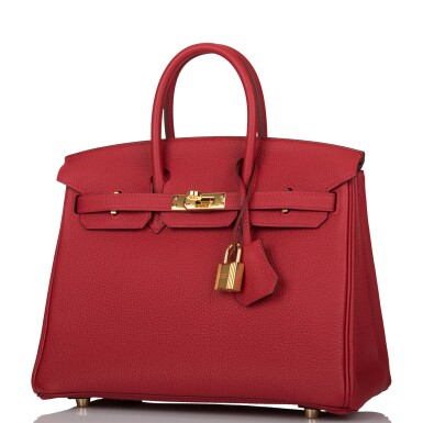 View 4. Thumbnail of Lot 21. HERMÈS   ROUGE VIF BIRKIN 25CM OF TOGO LEATHER WITH GOLD HARDWARE.