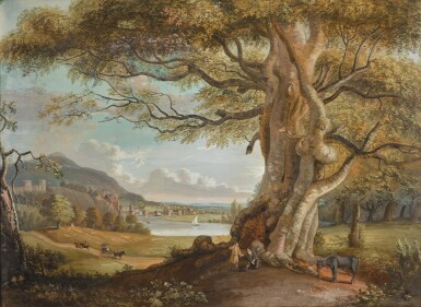 PAUL SANDBY, R.A. | An extensive pastoral landscape with figures and a horse beneath a tree, a riverside town in the middle distance