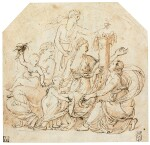 An Allegory of Abundance in a drawn circle