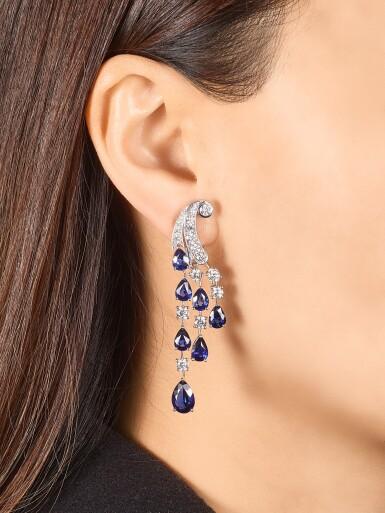 View 1. Thumbnail of Lot 1065. Pair of Sapphire and Diamond Earrings | 格拉夫| 藍寶石 配 鑽石 耳墜一對 (藍寶石及鑽石共重約14.00及3.80克拉).