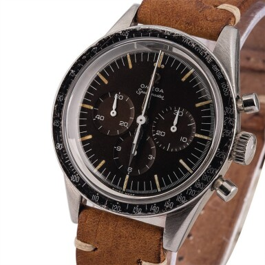 "OMEGA | Speedmaster, Ref. 2998-1, A Stainless Steel Chronograph Wristwatch with ""Tropical"" Dial, Circa 1960"