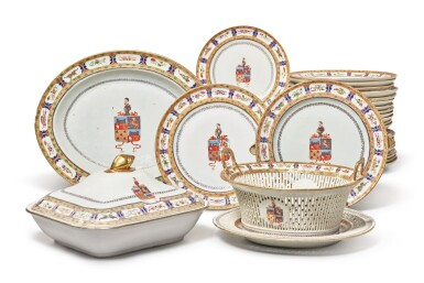 View 2. Thumbnail of Lot 466. A Rare Chinese Export Armorial Part Dinner Service for the Portuguese Market, Qing Dynasty, Jiaqing/ Daoguang Period, circa 1820 | 清嘉慶 / 道光  約1820年  粉彩紋章圖餐具組.