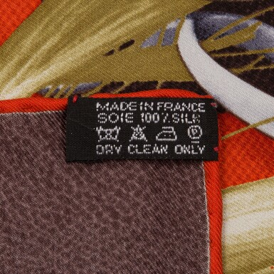 """View 4. Thumbnail of Lot 144. Hermès """"Project Carres"""" Silk Twill Scarf 90cm."""