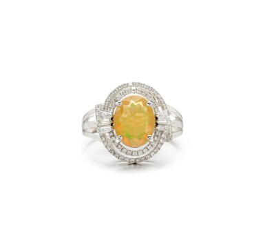 View 1. Thumbnail of Lot 28. OPAL AND DIAMOND RING.