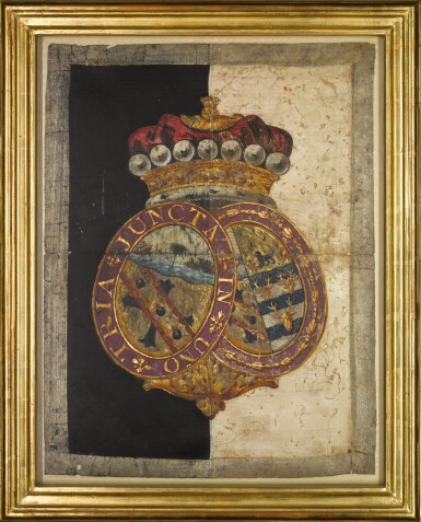 View 1. Thumbnail of Lot 27. A fine painted silk hatchment from the State Funeral Carriage of Vice-Admiral Viscount Nelson, 1805.