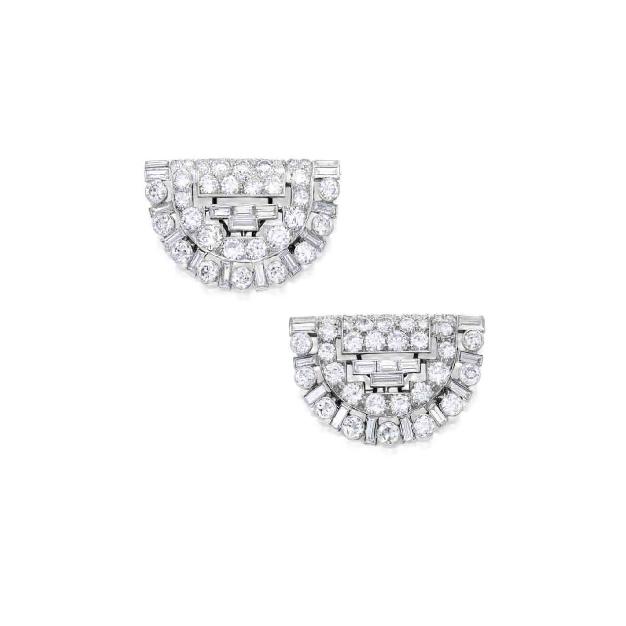View full screen - View 1 of Lot 255. Pair of Diamond Clips.