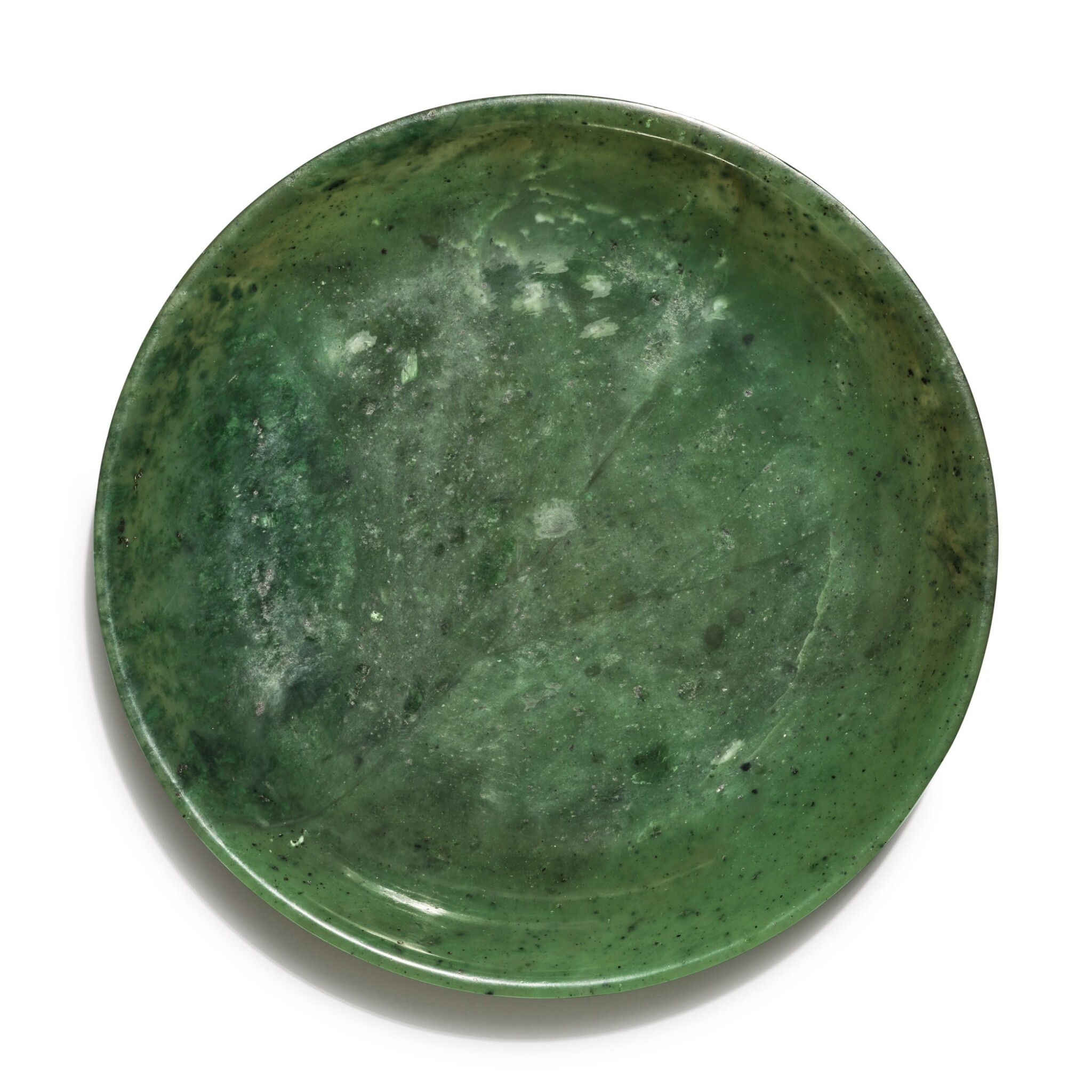 View full screen - View 1 of Lot 161. A spinach green jade dish, Qing dynasty.
