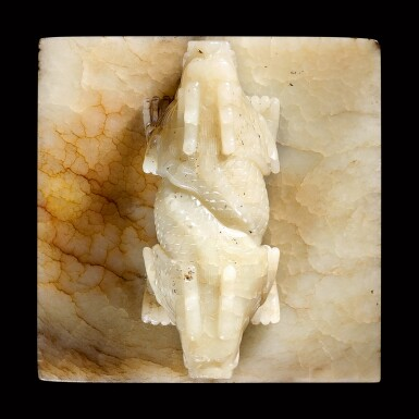 View 6. Thumbnail of Lot 3603. An outstanding imperial inscribed white jade 'Ji'entang' seal Qing dynasty, Qianlong period, dated to the bingxu year (corresponding to 1766) | 清乾隆 乾隆帝御寶交龍鈕白玉璽 印文:紀恩堂.