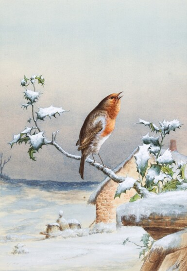 View 2. Thumbnail of Lot 143.  Winter - A Cock Robin; Winter - A Robin and Wren.