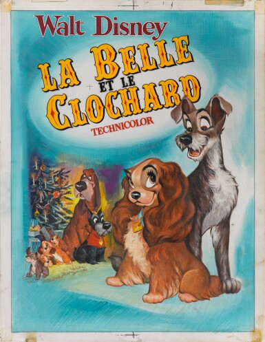 View 1. Thumbnail of Lot 28. LADY AND THE TRAMP / LA BELLE ET LE CLOCHARD (1955) ORIGINAL ARTWORK, FRENCH.