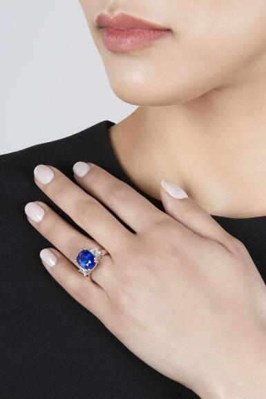 View 3. Thumbnail of Lot 45. Sapphire and Diamond Ring.