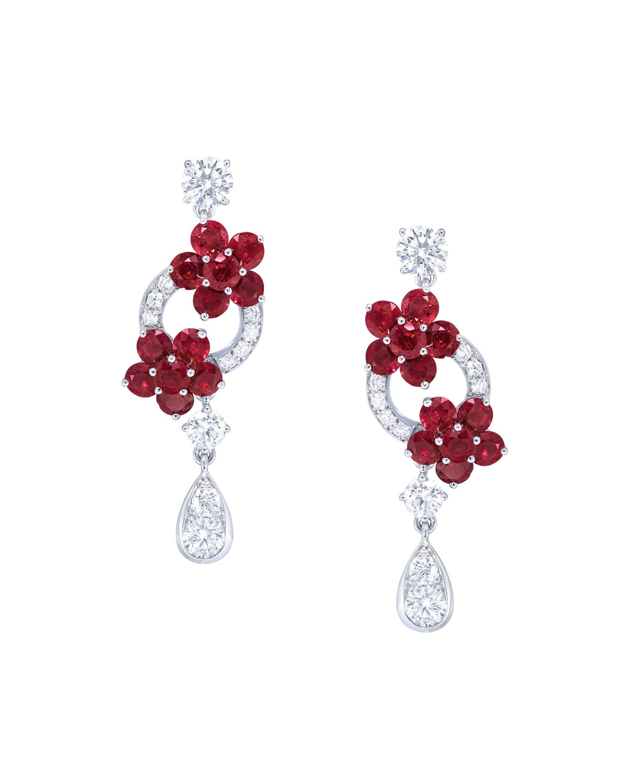 View full screen - View 1 of Lot 35. GRAFF   PAIR OF RUBY AND DIAMOND EARRINGS.