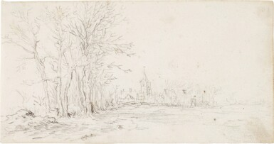 View 1. Thumbnail of Lot 218. JAN JOSEFSZ. VAN GOYEN     VIEW ALONG A ROAD TOWARDS A VILLAGE, WITH TREES TO THE LEFT.