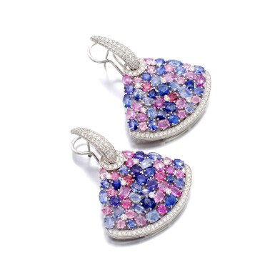 View 2. Thumbnail of Lot 44. MICHELE DELLA VALLE | GEM SET AND DIAMOND EARRINGS.