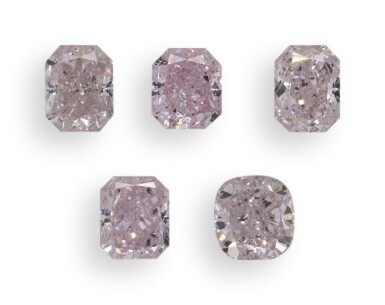 A Group of Five Pink Diamonds