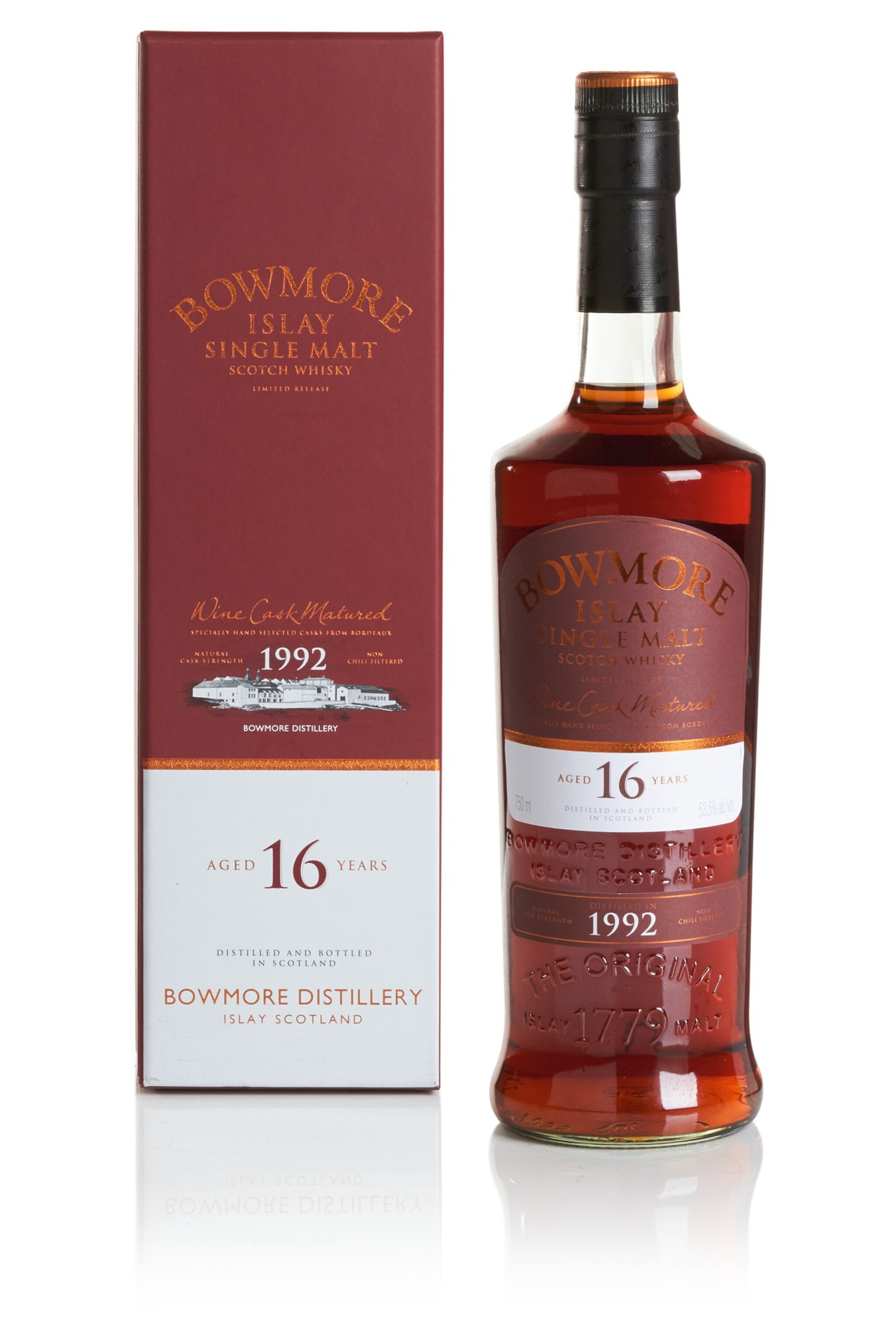 View full screen - View 1 of Lot 296. BOWMORE 16 YEAR OLD WINE CASK MATURED 53.5 ABV 1992  .