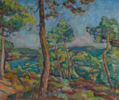 JÓZEF PANKIEWICZ | HARBOUR WITH PINE TREES