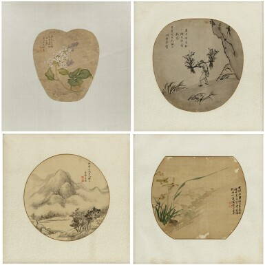 View 1. Thumbnail of Lot 120. Artistes variés Ensemble de quatre peintures | 團扇面 一組四幀 | Various artists  Set of Four Paintings, ink and colour on silk, of which three framed and under glass.