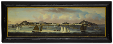 View 1. Thumbnail of Lot 1199. A RARE AND IMPRESSIVE PANORAMIC VIEW OF MACAO, ATTRIBUTED TO SUNQUA QING DYNASTY, CIRCA 1850 | 清 約1850年 新呱(傳)澳門南灣全景遠眺 油彩 裝框.