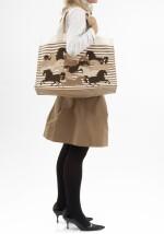 Canvas tote beach bag with palladium hardware, Hermès
