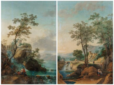 View 1. Thumbnail of Lot 179. A Landscape with an architectural capriccio of Tivoli; A Landscape with falls and a bridge.