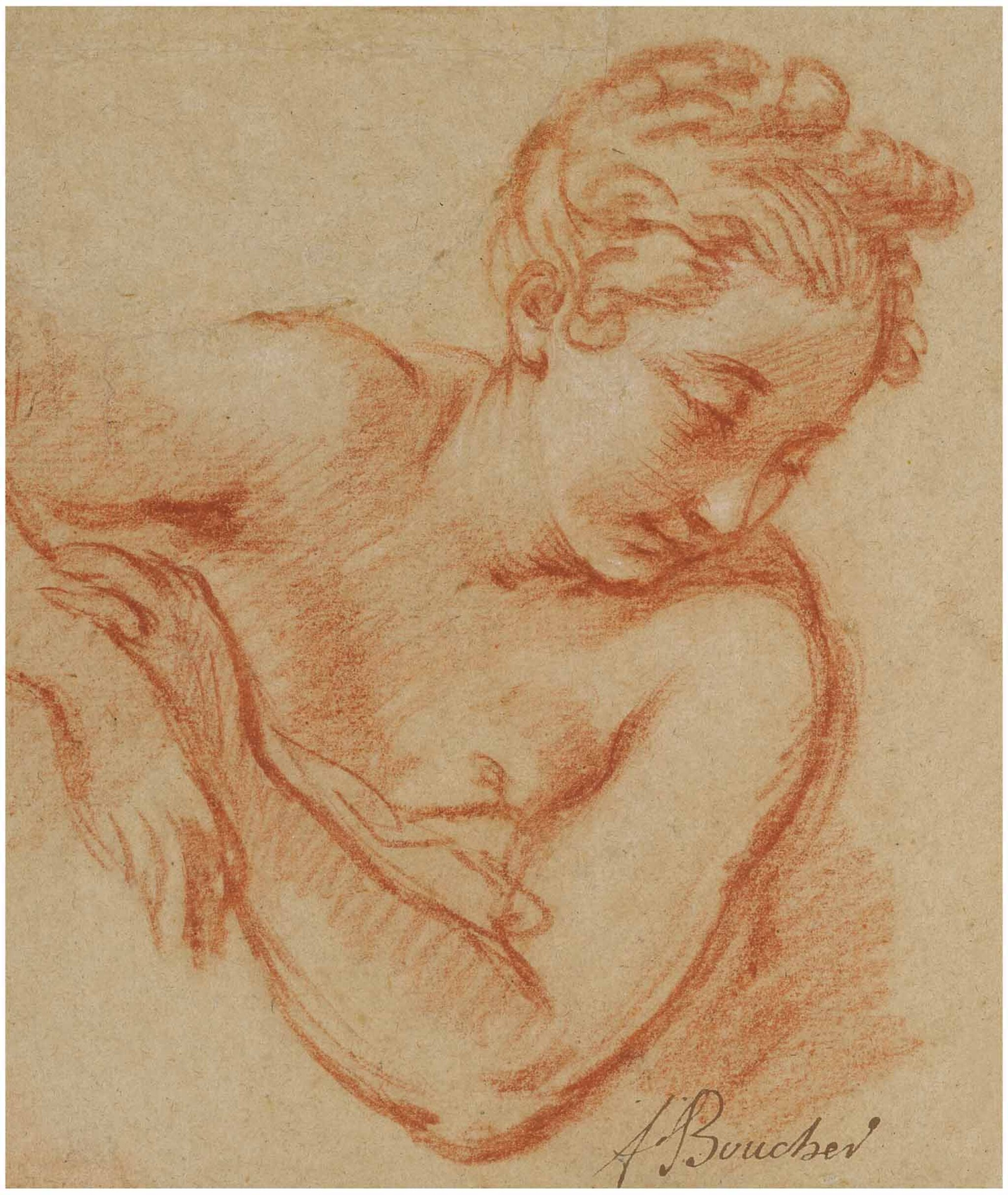 View full screen - View 1 of Lot 10. FRANÇOIS BOUCHER | HALF LENGTH STUDY OF A YOUNG WOMAN, LOOKING DOWN TO THE RIGHT.