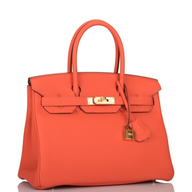 View 2. Thumbnail of Lot 138. Hermès Orange Poppy Birkin 30cm of Togo Leather with Gold Hardware.