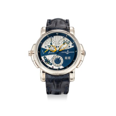 View 1. Thumbnail of Lot 1110. ULYSSE NARDIN | SONATA, REFERENCE 670-88 A WHITE GOLD DUAL TIME ZONE WRISTWATCH WITH DATE, ALARM AND COUNTDOWN INDICATION, CIRCA 2007.