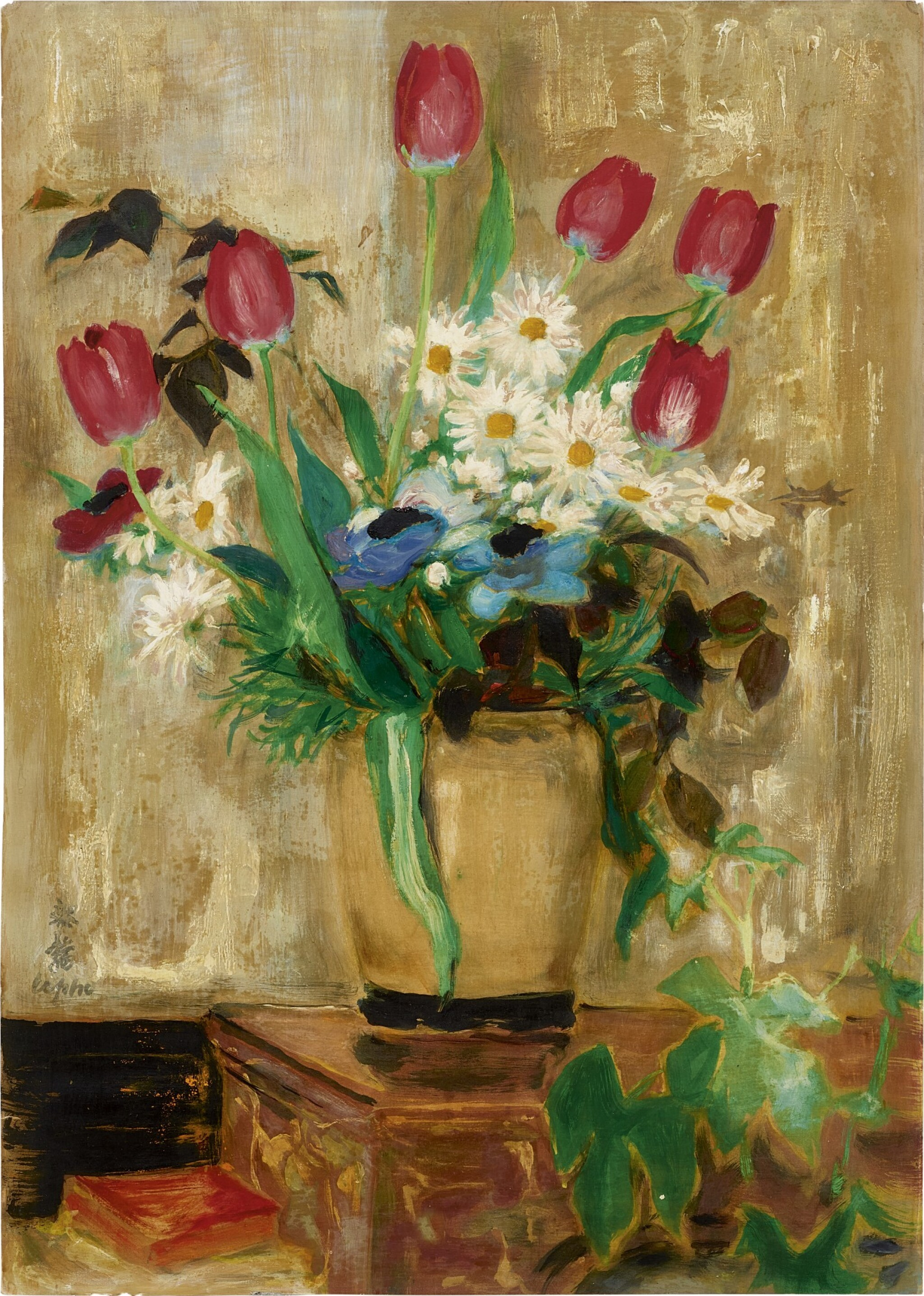 View full screen - View 1 of Lot 256. LE PHO 黎譜 | LE TULIPES ROUGES, VASE CRÈME (RED TULIPS IN A CREAM VASE) 奶白色花瓶裡的紅色鬱金香.