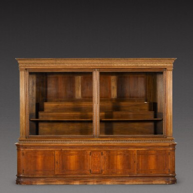 View 1. Thumbnail of Lot 178. An Austrian parcel-gilt intarsia inlaid walnut display cabinet, late 19th century.
