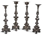 TWO SIMILAR PAIRS OF BAROQUE SILVER ALTAR CANDLESTICKS, PROBABLY SPANISH OR ITALIAN, 18TH CENTURY