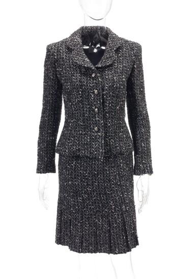 View 1. Thumbnail of Lot 124. Black and white wool ensemble.