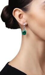 PAIR OF EMERALD AND DIAMOND EARRINGS, MARTIN KATZ | 祖母綠配鑽石耳環一對,Martin Katz