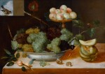 Still life with grapes in a porcelain dish and peaches on a tazza, with melons and snails