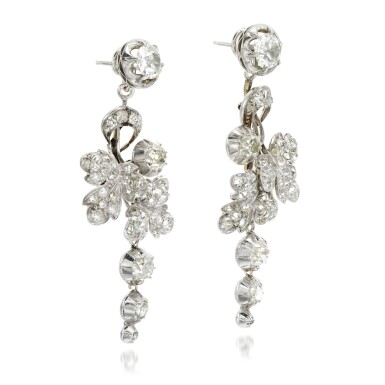 View 2. Thumbnail of Lot 129. Pair of diamond earrings, 19th century and later.