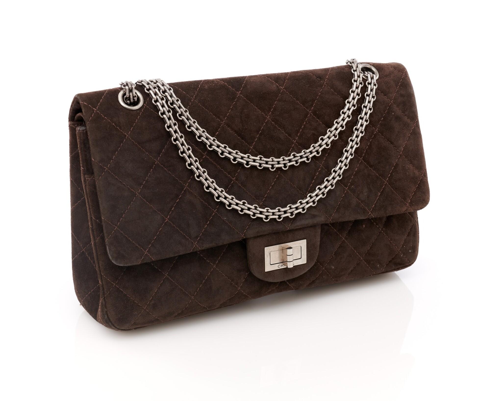 View full screen - View 1 of Lot 61. Dark brown suede leather and silver-tone metal 2.55 reissue shoulder bag.