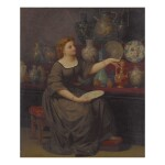 JEAN-LOUIS HAMON | A LADY SEATED ADMIRING A VASE