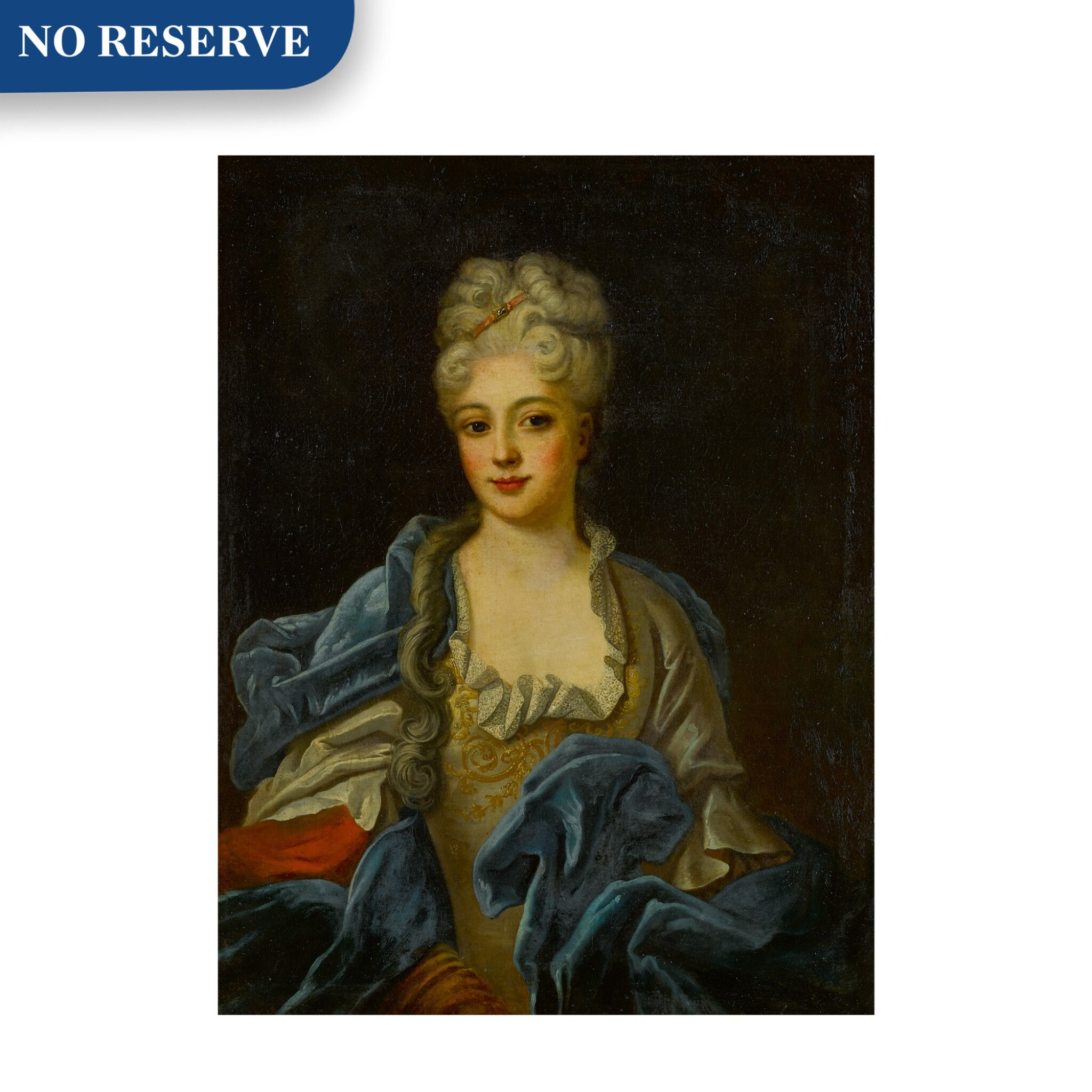 View full screen - View 1 of Lot 88. Portrait of a lady in an embroidered gown with a blue velvet cloak, half length.