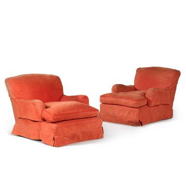 View 2. Thumbnail of Lot 104. A pair of Edwardian mahogany 'Ivor' easy armchairs by Howard & Sons, circa 1910.