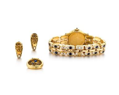 View 3. Thumbnail of Lot 1612. Diamond and Sapphire Demi-Parure and 'Pulchra' Wristwatch | 卡地亞及Bertolucci | 鑽石 配 藍寶石 戒指及耳環套裝 及'Pulchra' 腕錶.