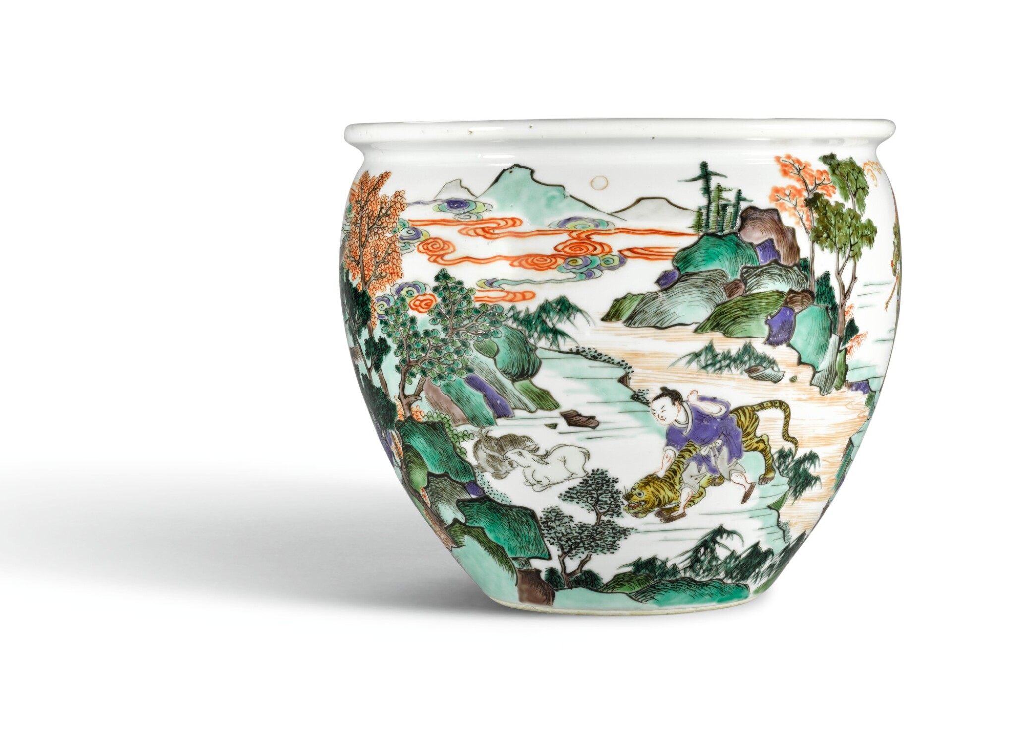 View full screen - View 1 of Lot 15. A WELL PAINTED FAMILLE-VERTE 'WATER MARGIN' JARDINIERE, QING DYNASTY, KANGXI PERIOD   清康熙 五彩水滸傳故事圖缸.