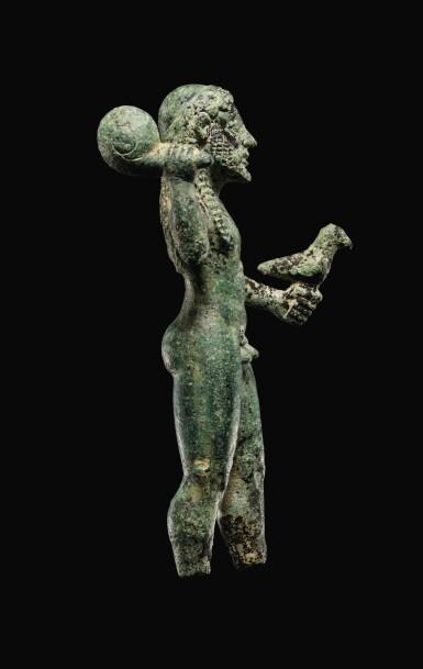 View 4. Thumbnail of Lot 7. A GREEK BRONZE FIGURE OF ZEUS, 6TH CENTURY B.C..