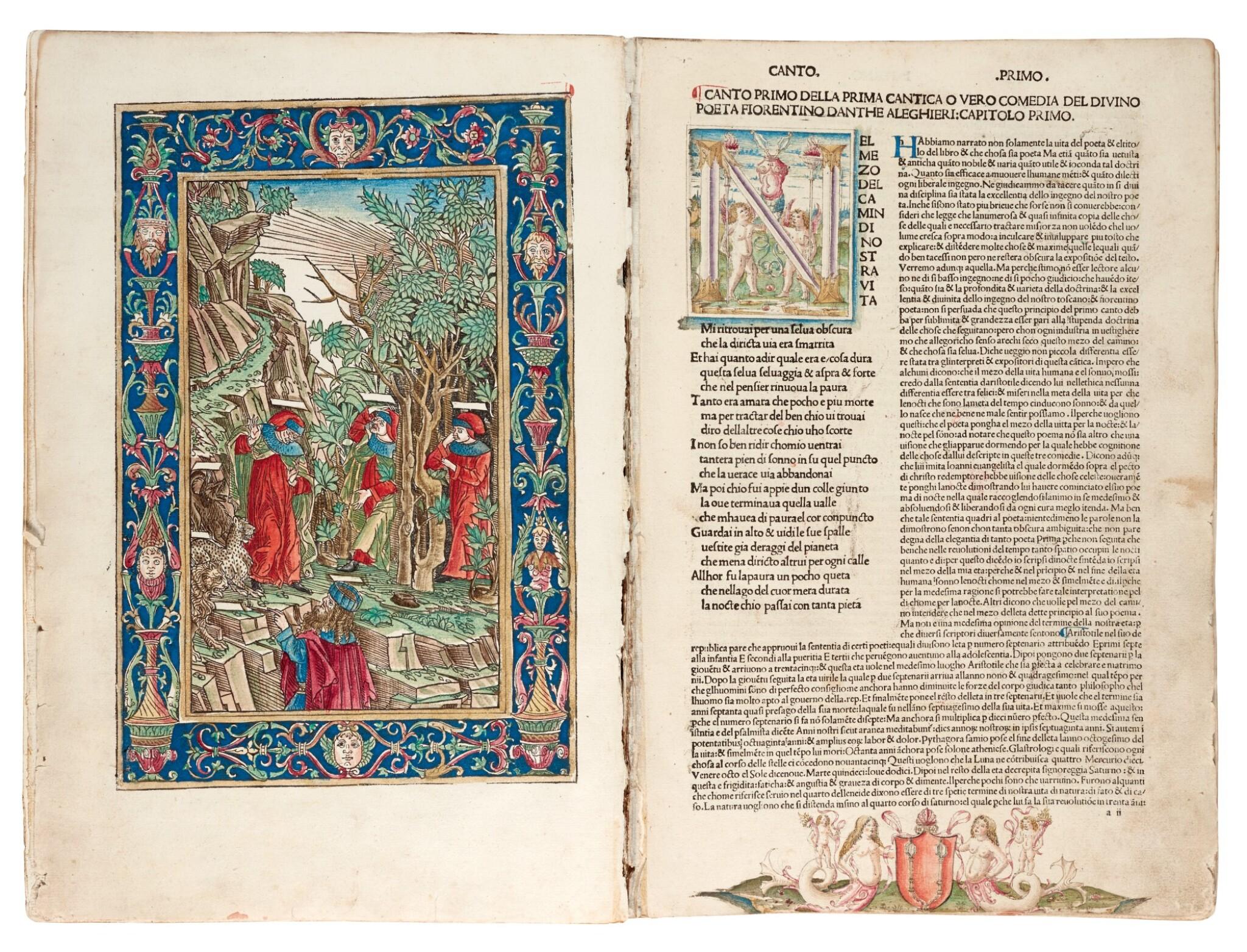 View full screen - View 1 of Lot 183. Dante, La Commedia, Brescia, 1487, hand-coloured, disbound.