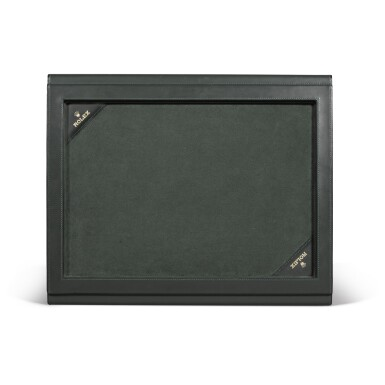 View 3. Thumbnail of Lot 729. THREE GREEN LEATHER PRESENTATION TRAYS.