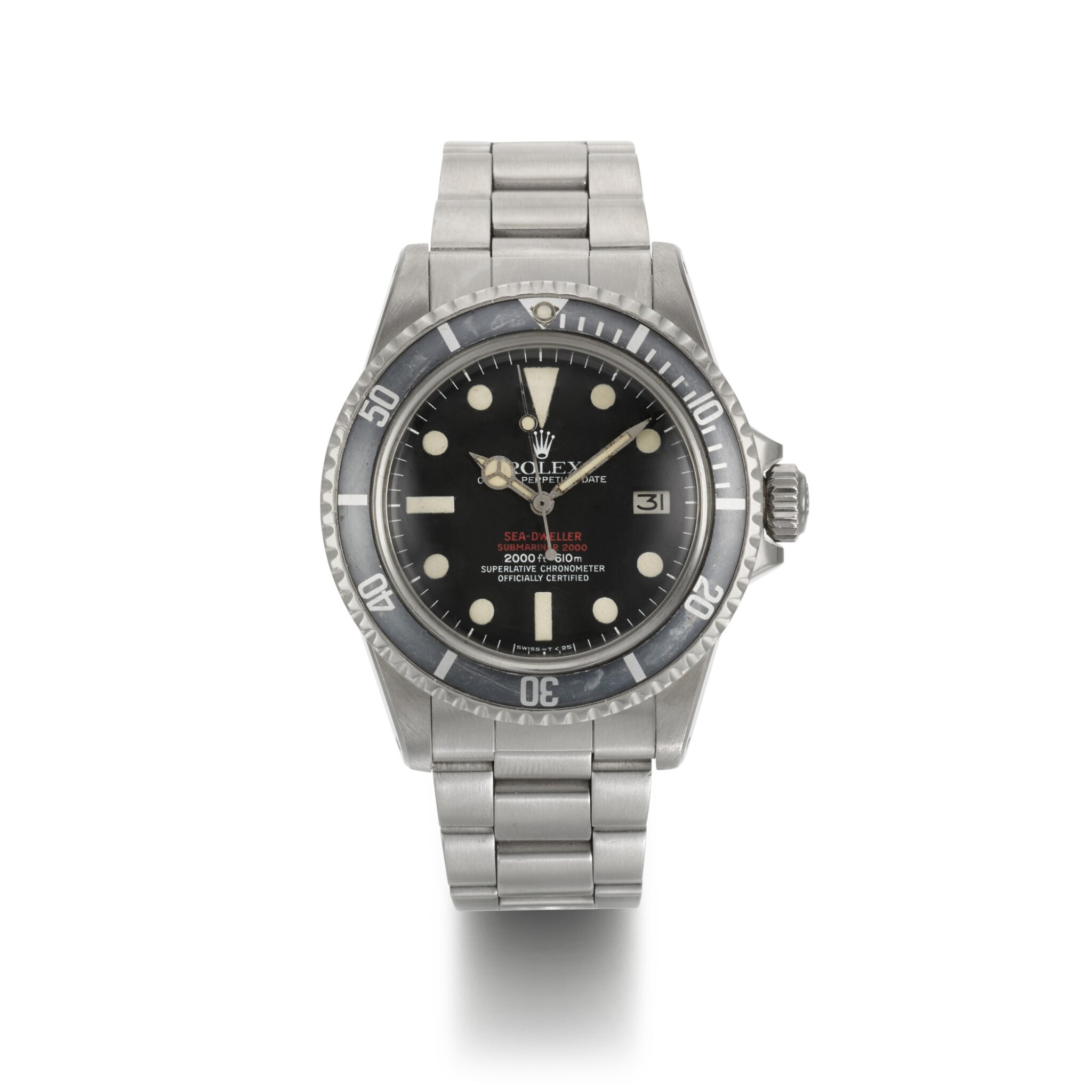 ROLEX | SEA-DWELLER 'DOUBLE RED', REF 1665, STAINLESS STEEL WRISTWATCH WITH DATE AND BRACELET, CIRCA 1977