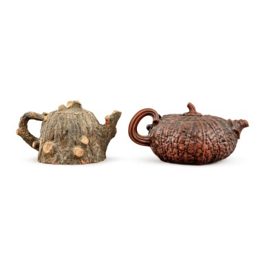 View 3. Thumbnail of Lot 28. Two stoneware teapots and covers, 20th century.