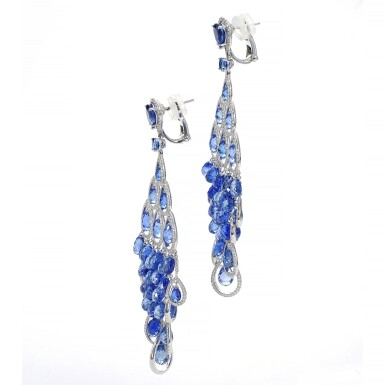 View 2. Thumbnail of Lot 88. GRAFF | PAIR OF SAPPHIRE AND DIAMOND PENDENT EARRINGS.