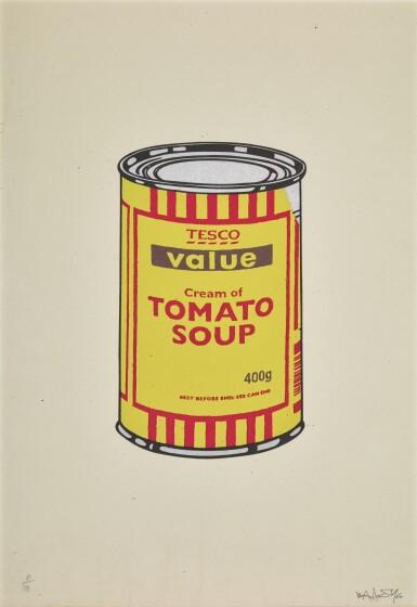 ロット24のビュー1。バンクシー| スープ缶(黄色と赤)。