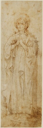SIENESE SCHOOL, 16TH CENTURY | Recto: St. Margaret Verso: A fragment with figures running